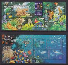 Australia Sc 1389a, 1465 Mnh. 1994 Zoo Animals & 1995 Marine Animals Souv Sheets