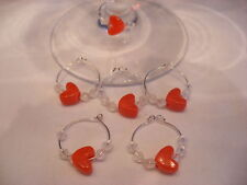 6 HANDMADE RED VALENTINES BEAD LOVE HEART WINE GLASS PARTY CHARM MARKER HOOPS
