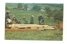 LANCASTER PA Amish Barn Raising Cutting Beams & Joist