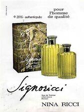 PUBLICITE PARFUM SIGNORICCI NINA RICCI POUR HOMME LION DE 1972 FRENCH AD PUB