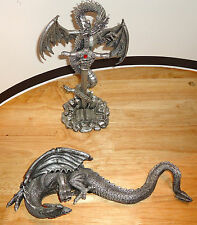 FANTASY 2 DRAGON/DRAGONS with SWORD/SKULL FIGURINE/FIGURINES