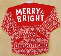 "Disney Parks Mickey Mouse ""Merry & Bright"" Holiday Spirit Jersey Medium NWT"