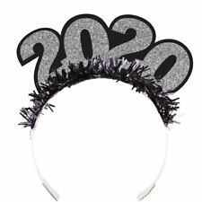 2020 Glitter Black Silver Tiaras Fringe New Years Eve Party 25 Pack