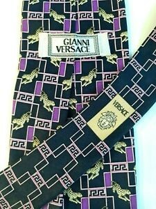 Gianni Versace Men Tie 100% Seta Silk Purple/Black Multicolored Cheetah