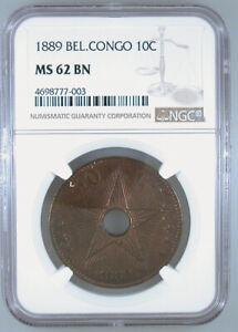 1889 Belgian Congo 10c MS-62 BN NGC Certified
