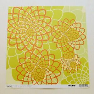 Floral Scrapbook Paper 1 Page 12x12 Orange Green Single Sided Heavy Weight