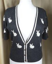 Monsoon Fusion Rabbit Short Sleeve Angora Mix Grey White Cardigan UK14 EU42