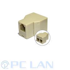 RJ11 Splitter 1 Female to 2 Female Adapter Divider Telephone Phone Fax