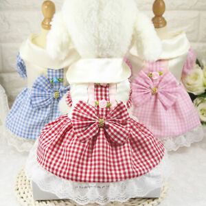 Small Pet Dog Dress Clothes Cute Grid Bow Princess Skirt Puppy Cat Dress Outfits