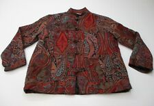 new WHITE STAG Women's Size L Mandarin Toggle Red/Blue Paisley Floral Blazer