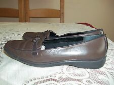 K SOFTEES ...CHOCOLATE BROWN LEATHER SLIP ON STYLE SHOES  SZ 5.5 WIDER STYLE