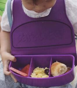 Silicone Toddler BIB Snack Feeder For Car Travel Parks Beach & Spork
