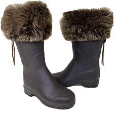 Le Chameau Women's US 7 / EU 38 / Faux Fur Brown Wellington Rubber Rain Boots