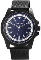 Excellanc Herrenuhr Blau Schwarz Meshband Analog Metall Armbanduhr X2300009002