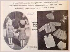 Smart Suit Hat Undies Doll Clothes Vintage Knitting PATTERN - A93