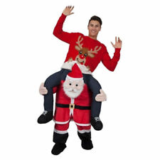 Santa Claus Costume Mascot Carry Ride On Piggy Back Me Adult kids Dress Xmas