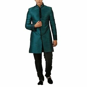 Indian Kurta Bollywood Men's Blended Silk Indo-western Sherwani with Churidar