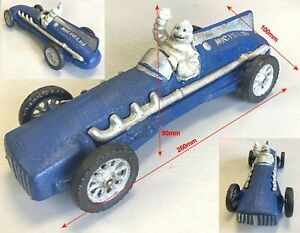 Cast Iron Statue Michelin Man in Car Show Piece Waving man in Blue car