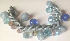 bracelet vintage couleur argent et bleu perle facette et perle de verre 4693