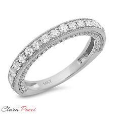 1.15ct Simulated PAVE set Wedding Eternity Engagement Band Ring 14k White Gold