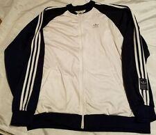 ADIDAS Originals Vtg Mens Tracksuit Top Jacket RARE White Blue 2XL Velor 90's
