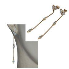 Earrings Gold Plated 18 Gold Long Pendant Zirconium White Jewel