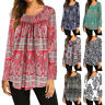 Women Long Sleeve Floral Tops Ladies Casual Loose Tunic T Shirt Blouse LDUK
