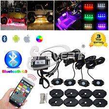 4X Pod Multi Color RGB Rock Lights Inalámbrico Bluetooth Música Jeep SUV Camión