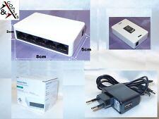 Mini Switch 5 Port Fast Ethernet 10/100 Mbit Netzwerk Hub LAN DSL + Netzteil OVP