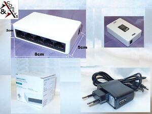 Mini Switch 5 Port RJ45 Fast Ethernet 10/100 Mbit Netzwerk Hub LAN DSL +Netzteil