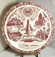 "University of Washington Plate Red and White platen 10.5"" Vtg Vernon Kilns USA"