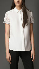 NWT $550 Burberry London White Lace Sleeve Silk Shirt size 4US/6UK/38IT