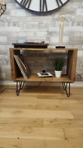 Bespoke Handmade Retro / Modern Record Player Table / Table - Hairpin Legs
