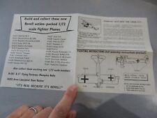 WW1 FOKKER DVII  REVELL  INSTRUCTION LEAFLET AERONAUTICA AVIATION