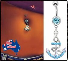 Belly Button Ring Dangle Body Piercing Sexy Blue Silver Anchor Rhinestone Navel