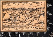 Delafield Wood Mounted Stamp Country Scene