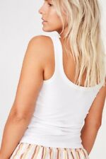 Cotton On Body Womens Scoop Rib Tank  In  White