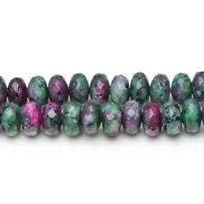 Ruby In Zoisite Faceted Rondelle Beads 5x8mm Green/Black 70+ Pcs DIY Jewellery