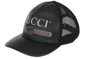 NEW GUCCI BLACK LEATHER WEB LOGO DETAIL BASEBALL CAP HAT 59/L LARGE
