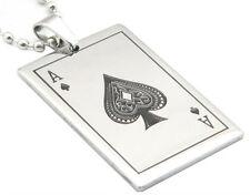Collier Pendentif Carte As Pique Acier Steel Pendant Ace Spade Card Poker Casino