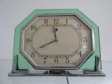 Art Deco Octagonal Green Glass Smiths Electric Mantel Clock 1930s Working