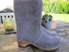 New Fabulous Sanita Charlotta Anthracite/Nude Suede Leather Clog Boot  Size 39