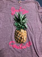 JUICY COUTURE WOMEN SIZE M PURPLE GREEN YELLOW SEQUENCE PINEAPPLE TEE TOP