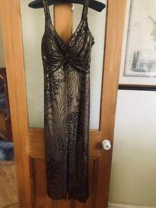 Joseph Ribkoff Long Metallic Décolletage Low Back Party Evening Dress Size 16