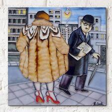 My Fur Coat Beryl Cook 8x8 Decorative Ceramic Tile Wall Plaque Art Gift 05914