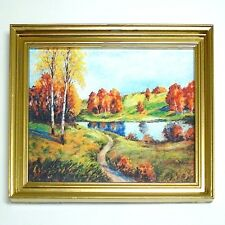 Dollhouse Rustic Autumn By the Pond Framed Picture 1:12 Doll House Miniatures