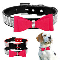 Suede Leather Dog Collar Bling Rhinestone Cute Bow Pet Puppy Cat Collars S M L