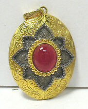 GOLD STERLING SILVER CARNELIAN LARGE PENDANT 1 1/4 X 1 1/2 INCHES SYBOLL