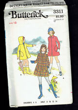 BUTTERICK pattern 3311 Girl's Coat collar hood Sz 12 uncut factory folded unused
