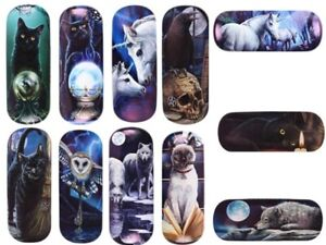 Lisa Parker Hard Glasses Case cleaning cloth Sunglasses reading Unicorn wolf MIX